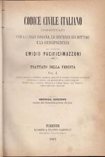 DIRITTO PACIFICI MAZZONI EMIDIO TRATTATO DELLA VENDITA 1882