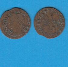 +gertbrolen+  Louis XIII  Double Tournois de Warin  en cuivre  1643 La Rochelle