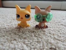 Littlest Pet Shop LPS TAN FRENCH (ON THE GO) BULLDOG # 1847 w/ Goggles + #2602