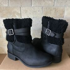 UGG Blayre III Black Waterproof Leather Fur Cuff Zip Ankle Boots Size 6 Womens