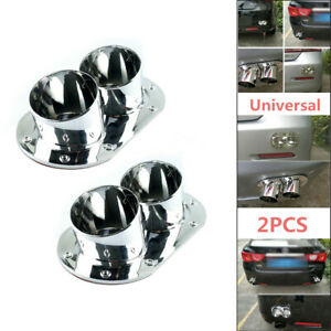 2x Universal Car Fake Exhaust Pipe Rear Bumper Anti-Collision Prevent Rear-end