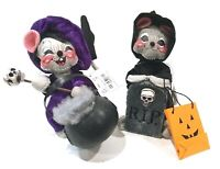 "Annalee Halloween 6"" Happy Reaper Mouse & 6"" Mouse W Cauldron Lot of 2"