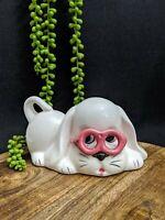 Vintage Kitsch Retro Money Box Piggy Bank Ceramic White Dog Hound Pink Glasses