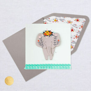 """Hallmark Thank You Card by Signature ~ 3D Elephant with Beads """" Thanks A Ton """""""