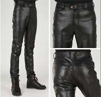 Mens Faux Leather Boys Korean Skinny Pants Black Motorcycle Trousers Plus Size