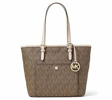 Michael Kors Jet Set Item Signature Medium Top Zip Snap Pocket Tote Mocha Brown