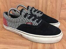 Worn🔥 Vans Vault Authentic Herringbone LX Black Burgundy Suede Pattern SIZE 6