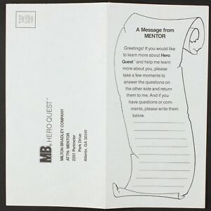 Mentor Questionnaire & Feedback Form | Original HeroQuest Ephemera