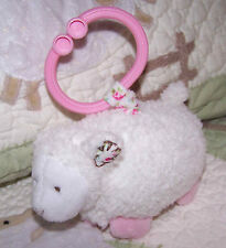 Carter's White Sherpa w Pink Flowers Jiggles & Giggles Baby Girl Stroller Toy EU