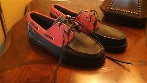 Allen Edmonds First Baseman Boat Shoes, Leather Upper, Black/Red, 6,5 3E, New