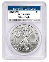 2020 1oz Silver Eagle PCGS MS70 - West Point Label - PRESALE