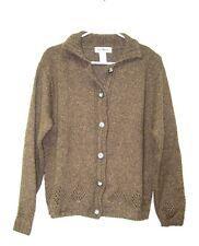 Vintage L.L. Bean Brown Wool Silk Blend Button down Cardigan Sweater Womens S