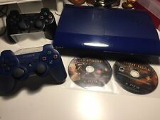 PS3 Super Slim 500gb Ltd Edition Azurite Blue Console Bundle God Of War 1 2 3