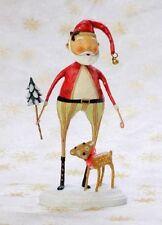 "22126 Lori Mitchell 9.75"" Santa Claus & Baby Comet Reindeer Folk Art Christmas"