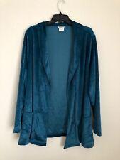 Cw Classics Women's Velvet Cardigan Open Front Sweater Jacket Velour Blue 4X New