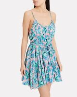 RHODE Nala Printed Cotton PINK/BLUE Sleeveless Dress  Size Small S $495 Sold Out