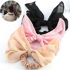 Cute Girls Women Big Bow Hair Tie Rope Scrunchie Ponytail Holder Headband Beige