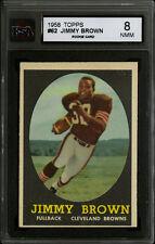 1958 TOPPS FOOTBALL~#62~JIM BROWN~HOF ROOKIE CARD~CLEVELAND BROWNS~KSA 8 NM-MT