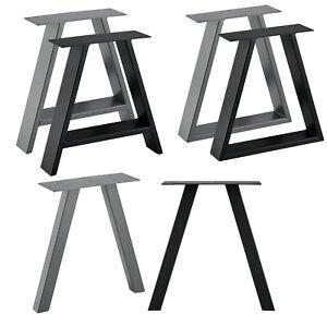 2x Tischgestell Gestell Tischbeine DIY Couchtisch Tischkufen Schwarz Stahlgrau