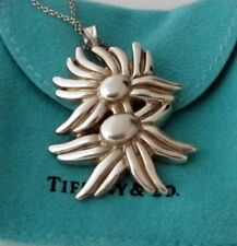 Tiffany & Co Vintage Rare 1986 Huge Sterling Silver Double Flower Necklace