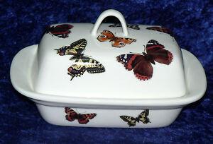 Butterfly deep butter dish. White porcleian deep dish -  colourful butterflies