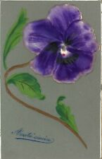 EMBOSSED FLOWER Purple Pansy Pretty Colour Greetings PC 1906