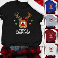 Simple Women Christmas Print Short Sleeve O-Neck T-Shirt Blouse Tops Y8