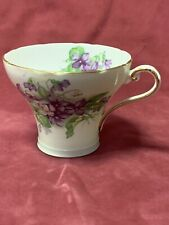 Beautiful Replacement Aynsley Cup Lime Green with Purple Violets Foliage 1313 /2