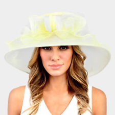 Kentucky Derby Church Wedding Yellow Ombre Flower Organza Hat 331596