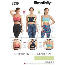 SIMPLICITY SEWING PATTERN MISSES' KNIT SPORTS BRAS EVERY CUP & BAND SIZE 8339