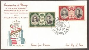 1956 MONACO Marriage Grace Kelly and Rainier FDC
