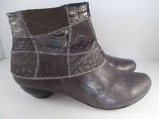 Think! Aida Antrazit/Kombi Grey Material Mix Leather Boots Women's Size 6 US NIB