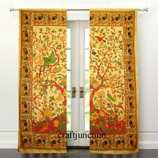 Chic Room Window Curtains Drape Tree of Life Tai Dai Solid Cotton Voile Valances