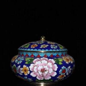 """6"""" China Antique Pot Old Cloisonne Copper Flower Storage tank pot"""