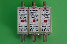 NH Sicherung Sicherungseinsatz NH000 100A 3 Stück Siemens 3NA7830