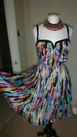 Mango Suit Gorgeous Multicoloured 100% Silk Fit&Flare Dress Size S UK 10
