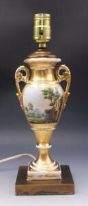 Antique Old Paris Porcelain Electrified Table Lamp Hand Painted w/ Landscape