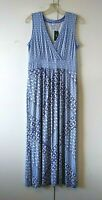 NEW WOMEN'S L.L. BEAN RADIANT BLUE WHITE PRINT SLEEVELESS MAXI DRESS M $64.95