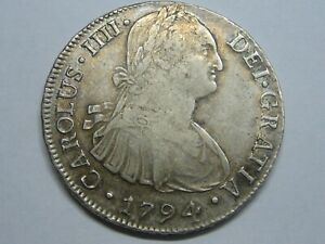 1794 LIMA 8 REAL CHARLES IV PERU SPANISH SPAIN COLONIAL SILVER COIN