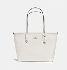 New Coach F58846 Crossgain Leather City Zip Tote Handbag Purse Bag White