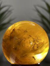 DENDRITIC GOLDEN HEALER SPHERE - Yellow Hematoid Quartz Crystal Mineral Decor