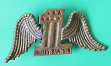 Vintage Large Solid Brass Aminco Harley Davidson Belt Buckle One 1 With Wings