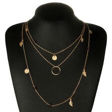 Women Irregular Multilayer Gold Pendant Chain Statement Necklace Multicolor