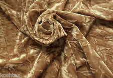 Gold Crinkle Velvet Fabric 4 Way Stretch by the Yard