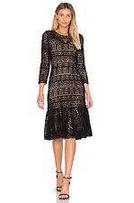 $695 Rebecca Taylor Women Stained Glass Ruffle Hem Lace Dress Sz 6 Black Dressy