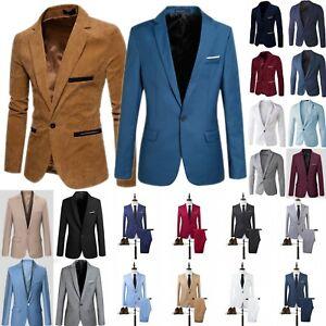 Mens Slim One Button Blazer Suit Tuxedo Wedding Formal Business Jacket Coat New