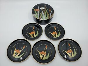 Vintage Otagiri Japan Coasters Set of 5 Coasters With Case, Iris Design