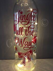 JINGLE ALL THE WAY CHRISTMAS BELL DESIGN DIY WINE BOTTLE VINYL DECAL STICKER