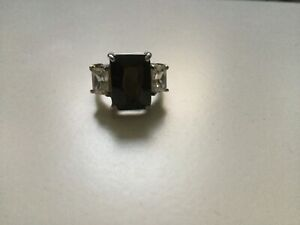 Ring Sterling Silver Pure 925 True Black colour big bold statement cocktail ring