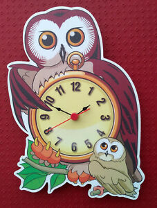 CHILDRENS OWL CLOCK ANIMALS OLD OWL TEACHER HAND MADE WOODEN CLOCK NURSERY